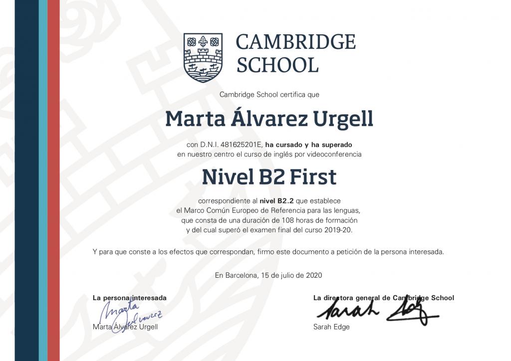 certificado-curso-ingles-zoom-Cambridge-School-1-ESP